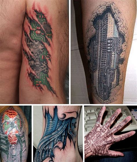 robot tattoo biomechanical tattoos