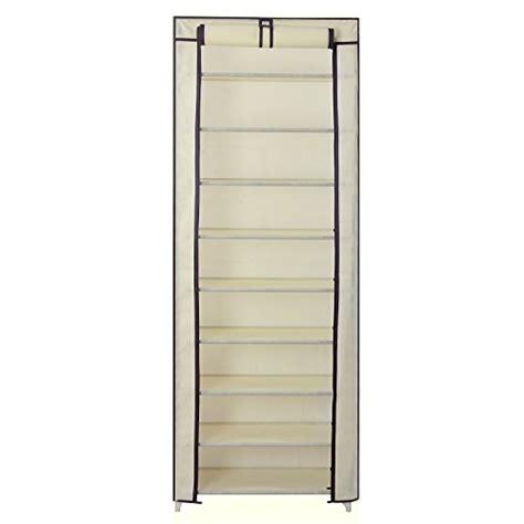 songmics 10 tiers 50 pairs space saving shoe rack storage closet shelf ulsh11h ebay songmics 10 tier shoe tower rack with cover 27 pair space saving shoe storage organizer beige