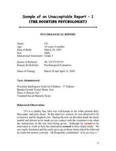Psychological Evaluation Sample Report Sample Psych Reports Format