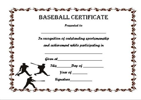 baseball certificates templates free 19 best baseball certificate templates images on