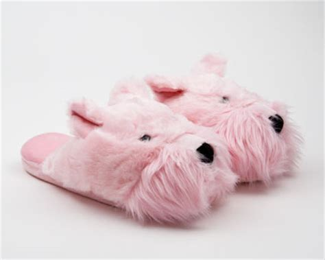 westie slippers fuzzy pink westie slipper animal slippers