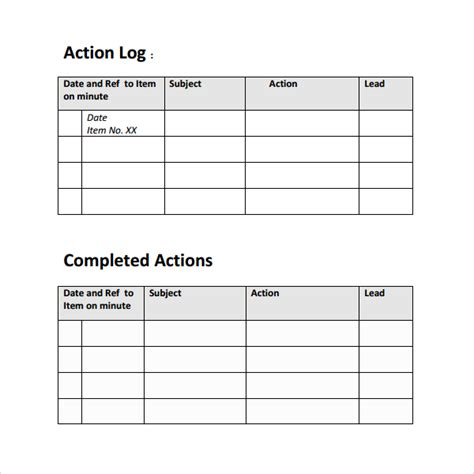 sample action log template 8 free documents in pdf