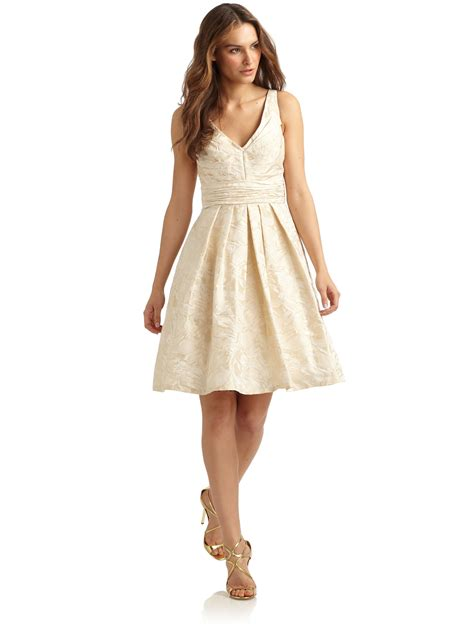 Brocade Flower Dress Mini Dress theia pleated floral brocade cocktail dress in white vanilla lyst