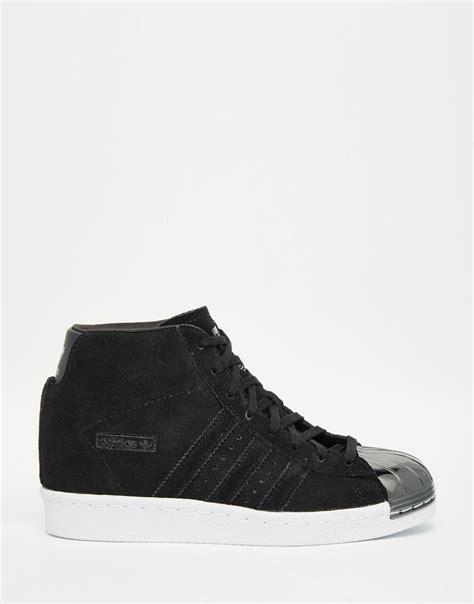 Adidas Superstar Up Metal Toe Womens lyst adidas originals originals black suede superstar up metal toe cap trainers in metallic