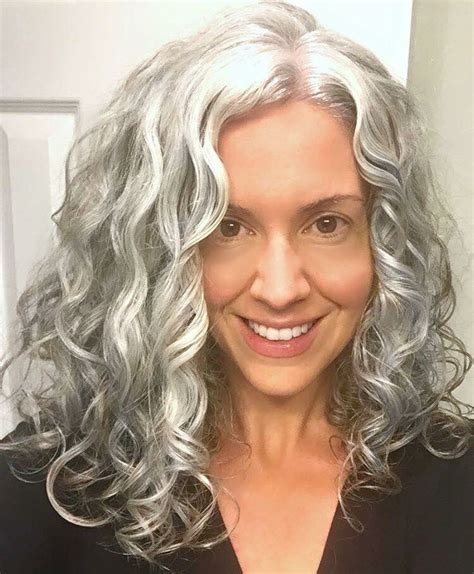 hairstyles for old curls long gray hair strands of silver and snow pinterest