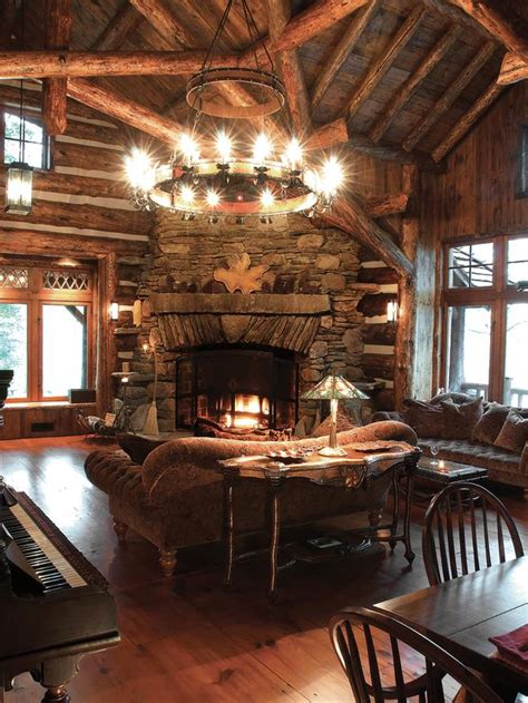lodge living room country living space photos hgtv