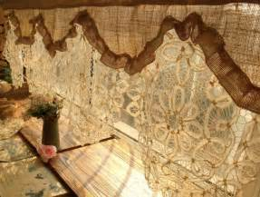 Shower Curtains With Valances Custom Antique Lace Valance Burlap Curtain Shabby Rustic
