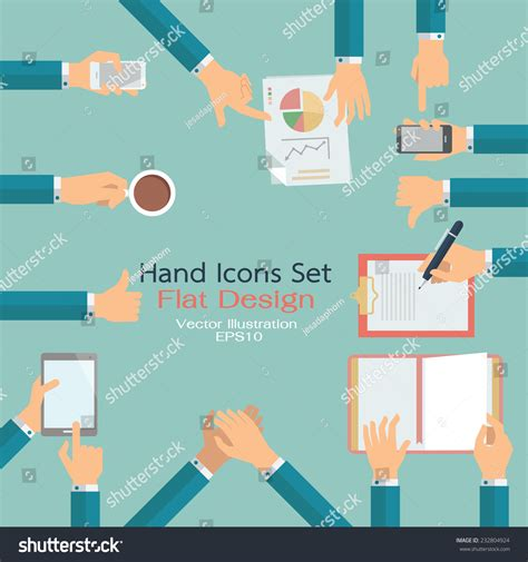 design concept write up flat design hand icons set business stock vector 232804924