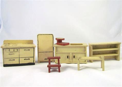 Kitchen Dollhouse Furniture antique dollhouse furniture kitchen set by vintagepolkadotcom