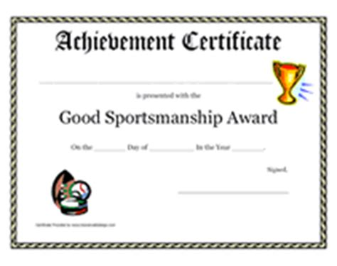 Printable Good Sportsmanship Award Certificate
