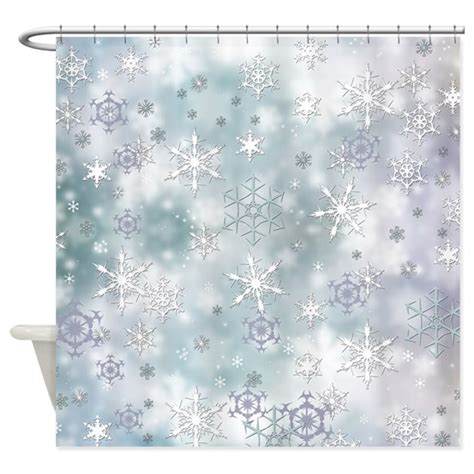 snowflake shower curtain snowflakes winter shower curtain by zazzlinghomedecor