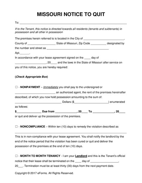 printable eviction notice missouri free missouri eviction notice forms process and laws