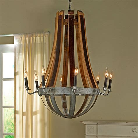 wine barrel chandelier for sale reclaimed wine barrel stave chandelier wine enthusiast
