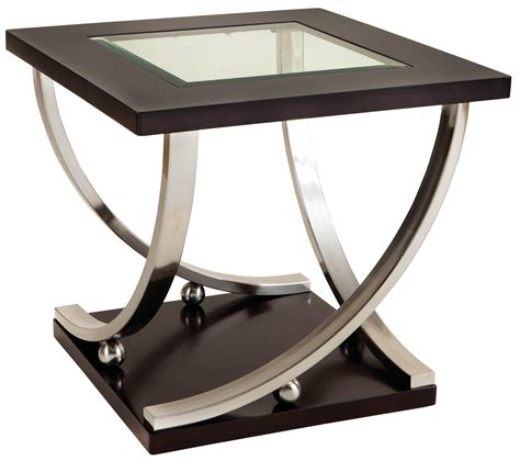Square End Table With Glass Table Top By Standard