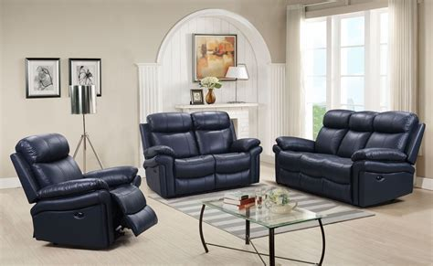 recliner living room set shae joplin blue leather power reclining living room set from luxe leather coleman furniture