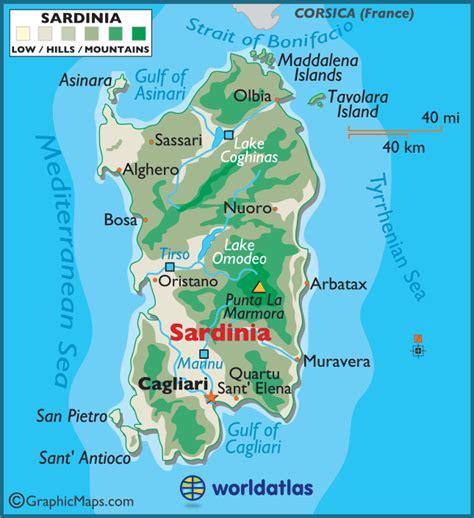 sardinia map sardinia large color map