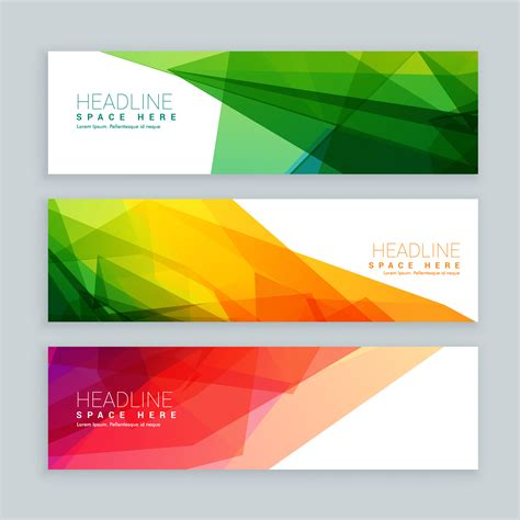 Web Banners Template Set In Abstract Colorful Style Download Free Vector Art Stock Graphics Web Banner Templates Images