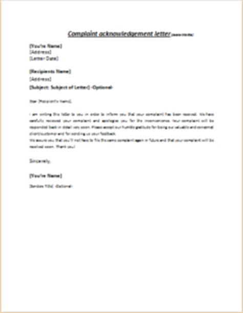 complaint acknowledgement letter writelettercom
