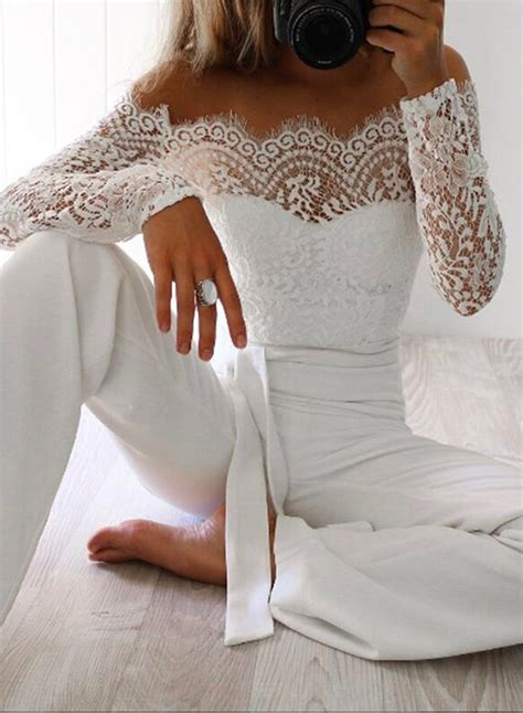 slash neck shoulder sleeve lace panel jumpsuit novashe