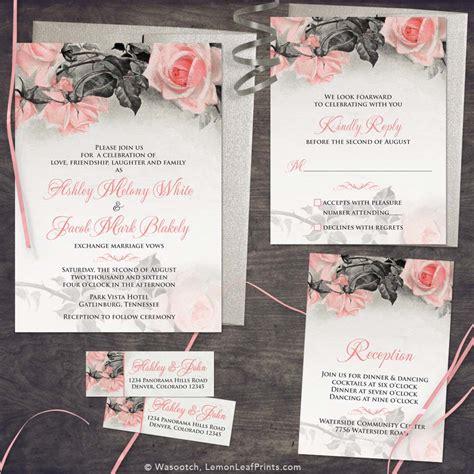 Cheap Wedding Invitations Sets by Vintage Blush Pink Grey Wedding Invitation Set