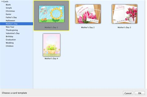 office mac mothers day card templates make s day card to give a special s
