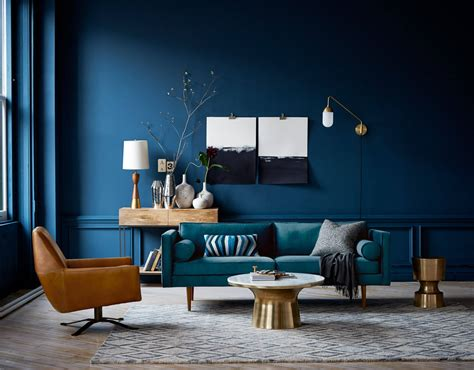 dark blue paint living room this is how to decorate with blue walls nonagon style