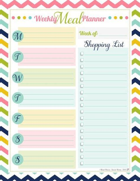 menu planning template with grocery list 25 best ideas about meal planner printable on