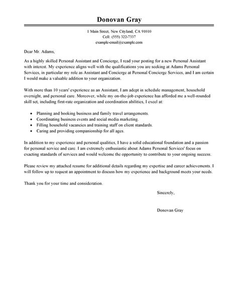 cover letter concierge sample