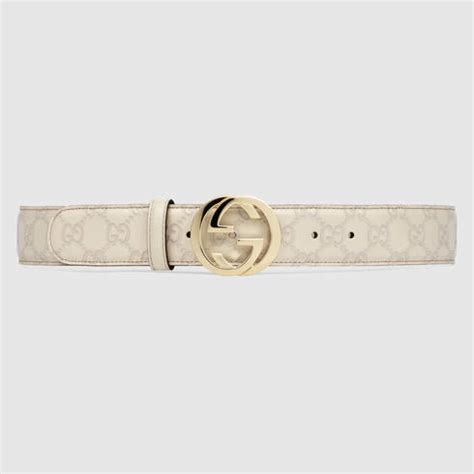 Gucci Leather G White gucci ssima leather belt with interlocking g buckle in white lyst