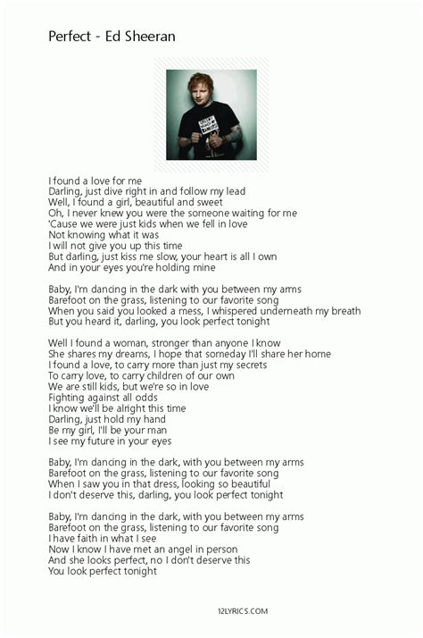 ed sheeran perfect azlyric ed sheeran perfect lyrics pdf 12lyrics