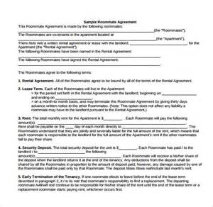 roommate lease template sle roommate rental agreement 14 free documents in