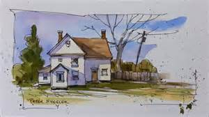 Color Wash Painting Technique - pen and wash demonstration of a country farmhouse easy to follow and learn with peter sheeler
