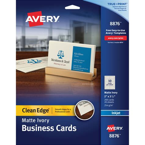 Avery Template 8876 by Avery 8876 Avery Clean Edge Inkjet Business Card Ave8876