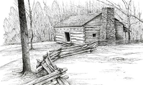 cabin drawings log cabin and mountain landscape mountain log cabin