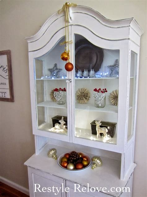 dining room display cabinet restyled  christmas