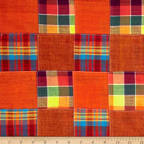 Madras Patchwork Fabric - madras plaid patchwork orange discount designer fabric