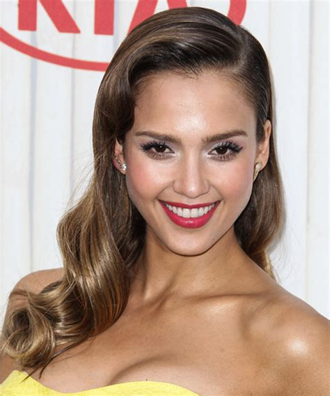 Jessica Alba Long Wavy Formal Hairstyle   Dark Brunette
