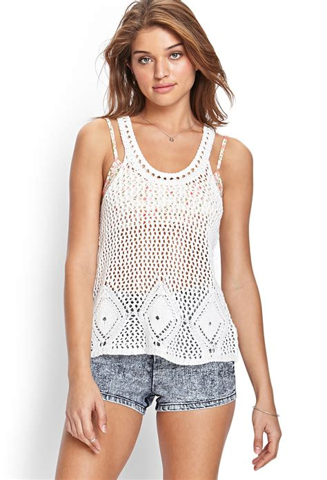 crochet knit top forever 21 crochet knit tank top in white lyst