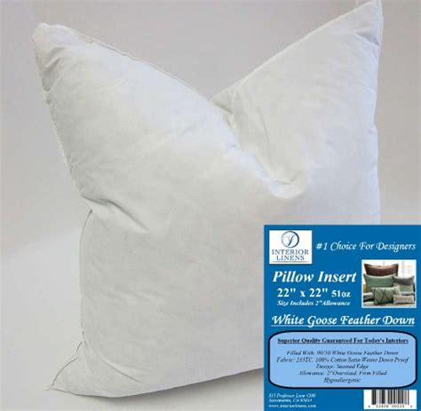 22 By 22 Pillow Insert by 22 X 22 51oz Pillow Insert 9010 White Goose Feather