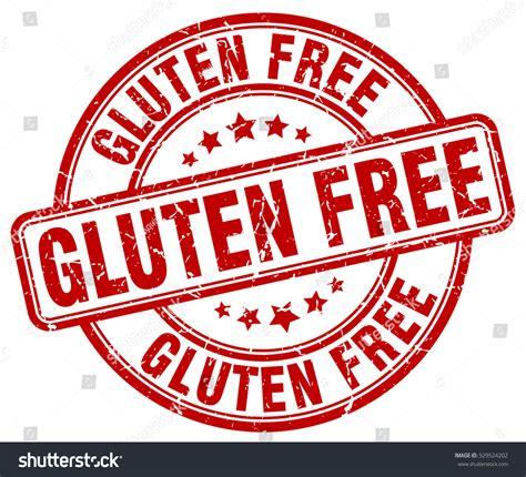 round gluten free gluten free st red round grunge stock vector 529524202