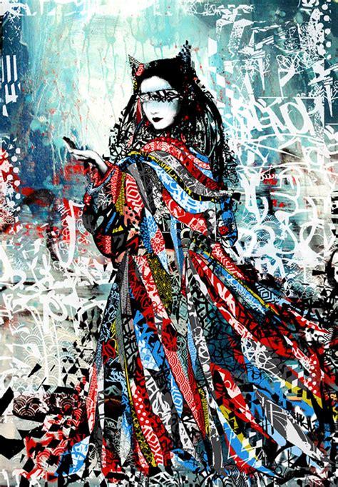 Tupac Wall Mural geisha by hush picame