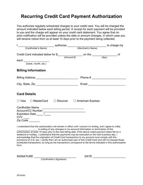 Credit Card Authorization Form Pdf Fillable Template Free Recurring Credit Card Authorization Form Pdf Word Eforms Free Fillable Forms