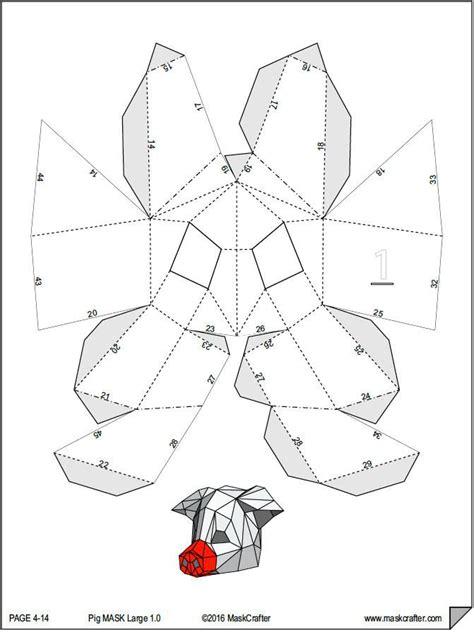 Papercraft Costumes - paper pig mask papercraft template mask diy