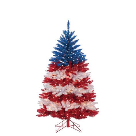 christmas tree lights america 5 ft patriotic american artificial tree in white and blue with 495 clear lights
