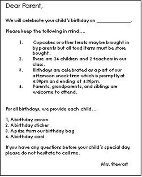Parent Letter Requesting Snacks Birthday Planning For Preschool Teach Preschool