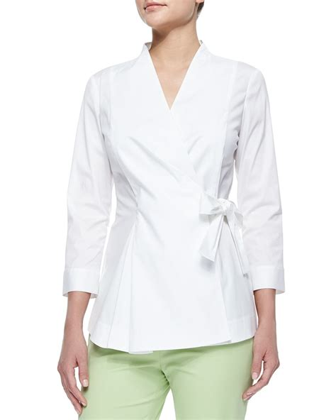 White Wrap Blouse With Tie by Lafayette 148 New York Jillian Wrap Blouse W Side Tie In