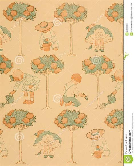 pattern paper book child s garden vintage book end paper pattern stock image