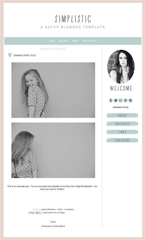 Blogger Template Inc Blog Elements And Xml Quot Simplistic Quot Simple Template Mint And Grey Chic Website Templates