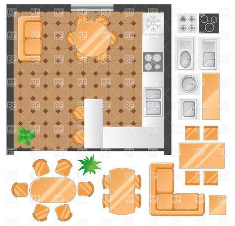 room designing kitchen plan with furniture set vector