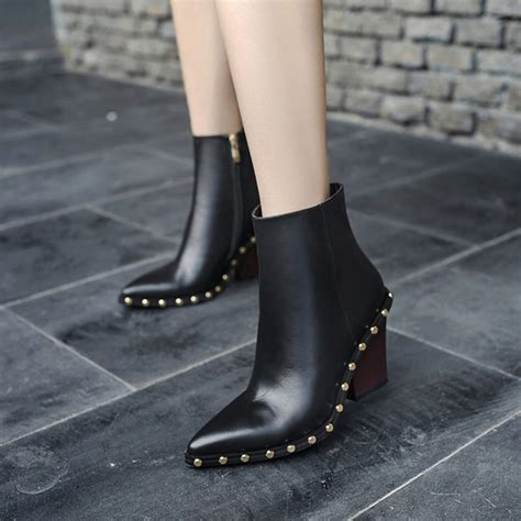 Trend Alert Pointy Toe Boots by Chiko Mirielle Pointy Toe Studded Block Heel Ankle Boots